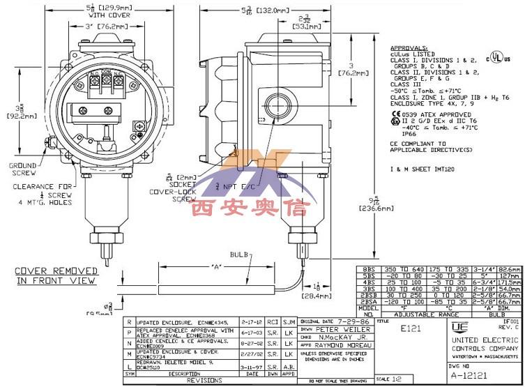 美国UE温控开关E121-2BSA防爆温度开关-84.4-37.8°C 低温开关