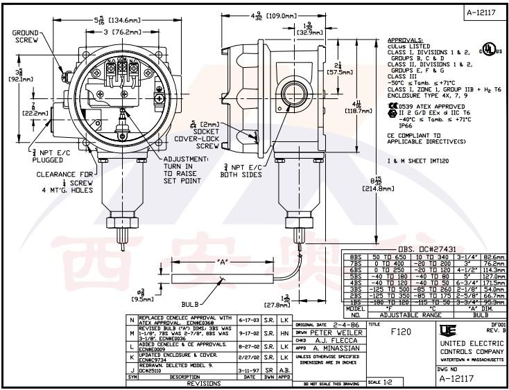 F120-1BS毛细管温度开关 防爆低温开关-117.8-48.9°C 美国UE温控器